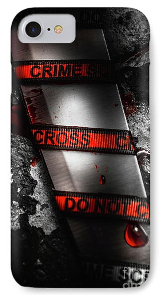 Bloody Knife Wrapped In Red Crime Scene Ribbon IPhone Case by Jorgo Photography - Wall Art Gallery