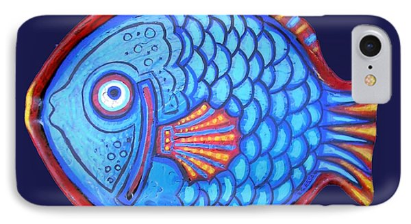 Blue And Red Fish IPhone Case by Genevieve Esson