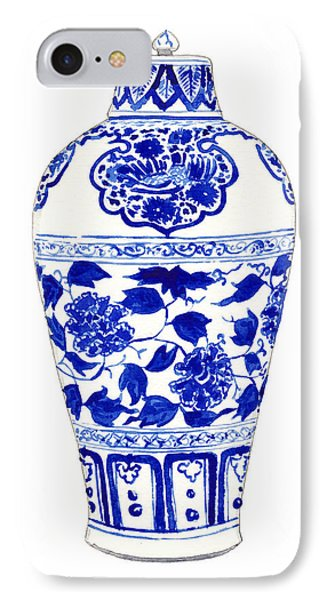 Blue And White Ginger Jar Chinoiserie Jar 1 IPhone Case by Laura Row