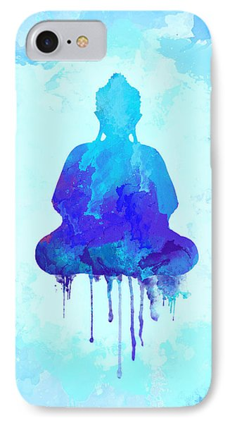 Blue Buddha Watercolor Painting IPhone Case by Thubakabra