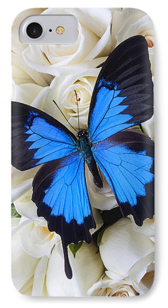 Blue Butterfly On White Roses IPhone Case by Garry Gay
