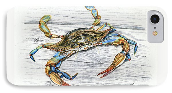 Blue Crab IPhone Case by Jana Goode
