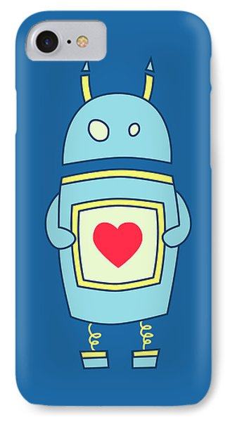 Blue Cute Clumsy Robot With Heart IPhone Case by Boriana Giormova