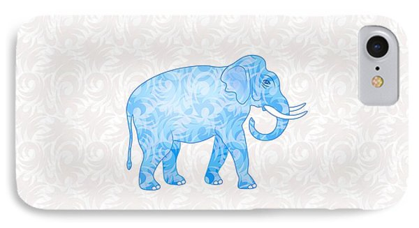 Blue Damask Elephant IPhone 7 Case by Antique Images