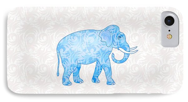 Blue Damask Elephant IPhone Case by Antique Images