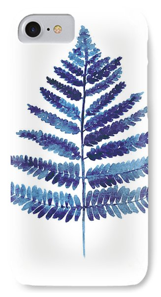 Blue Ferns Watercolor Art Print Painting IPhone Case by Joanna Szmerdt