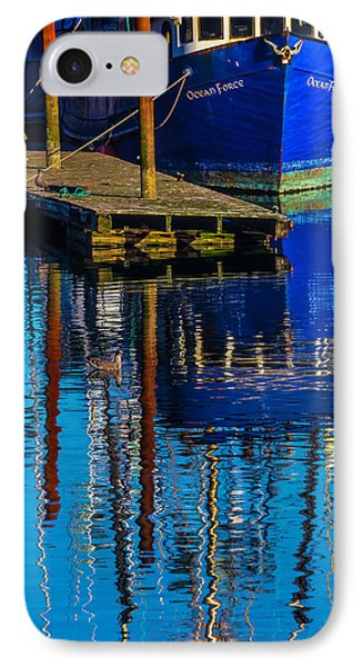 Blue Fishing Boat Reflection IPhone Case by Garry Gay