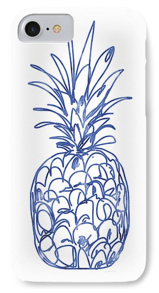 Blue Pineapple- Art By Linda Woods IPhone 7 Case by Linda Woods