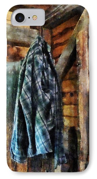 Blue Plaid Jacket In Cabin Phone Case by Susan Savad