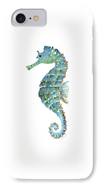 Blue Seahorse IPhone 7 Case by Amy Kirkpatrick