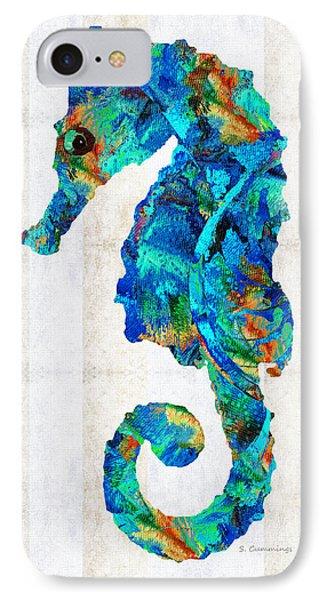 Blue Seahorse Art By Sharon Cummings IPhone Case by Sharon Cummings