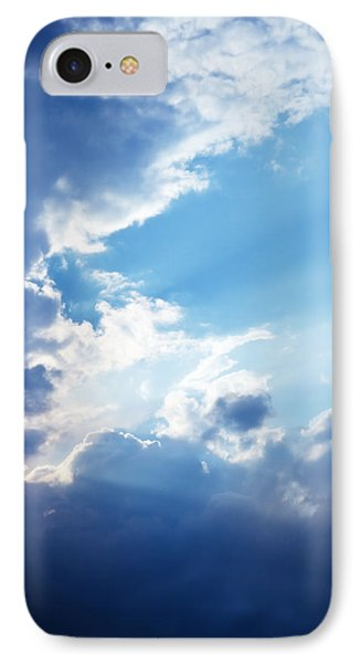 Blue Sky And Clouds With Sun Light IPhone Case by Jozef Klopacka
