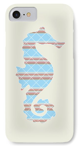 Blue Seahorse Art IPhone Case by Christina Rollo