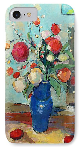 Blue Vase IPhone Case by Becky Kim