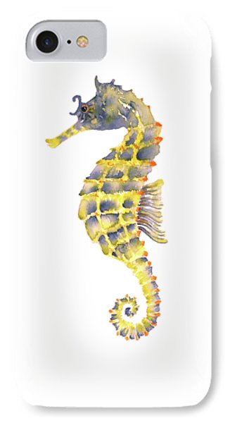 Blue Yellow Seahorse - Square IPhone 7 Case by Amy Kirkpatrick
