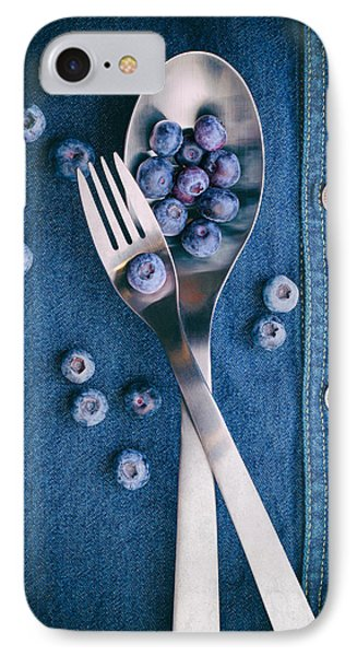 Blueberries On Denim II IPhone 7 Case by Tom Mc Nemar