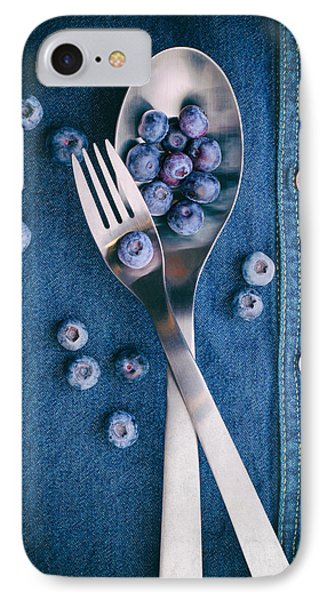 Blueberries On Denim II IPhone Case by Tom Mc Nemar
