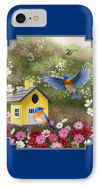 Bluebirds And Yellow Birdhouse IPhone Case by Crista Forest