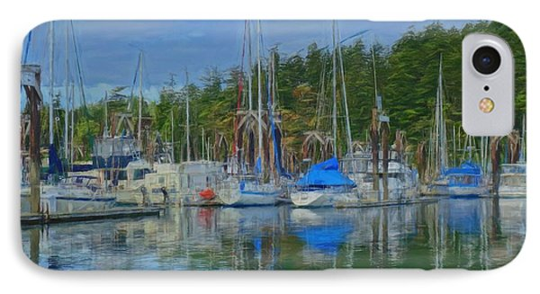 Boat Mast Reflections Olympic Coast IPhone Case by Dan Sproul