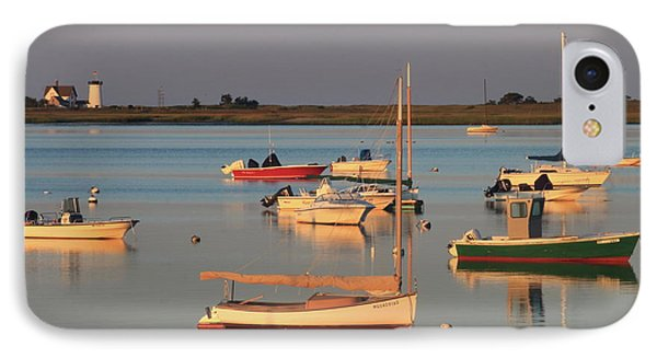 Boats And Stage Harbor Lighthouse Chatham Cape Cod IPhone Case by John Burk