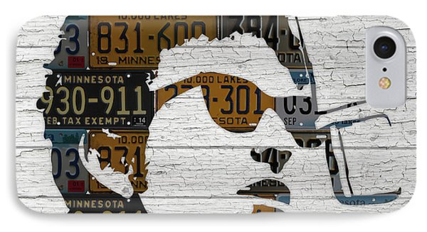 Bob Dylan Minnesota Native Recycled Vintage License Plate Portrait On White Wood IPhone 7 Case by Design Turnpike