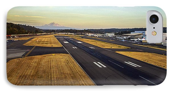 Boeing Field And Mount Rainier IPhone Case by Mike Reid