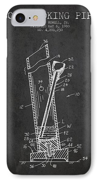 Bong Smoking Pipe Patent 1980 - Charcoal IPhone Case by Aged Pixel