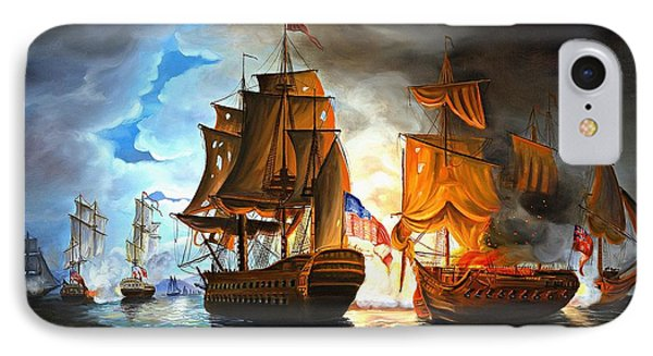 Bonhomme Richard Engaging The Serapis In Battle IPhone Case by Paul Walsh