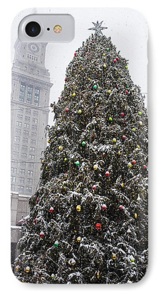 Boston Faneuil Christmas Tree Snow Covered With Custom House Overhead IPhone Case by Toby McGuire