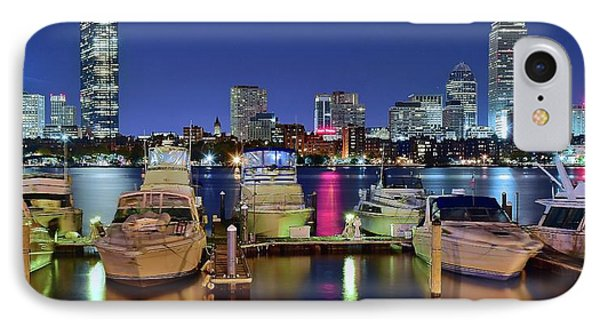 Boston Night Panoramic View IPhone Case by Frozen in Time Fine Art Photography
