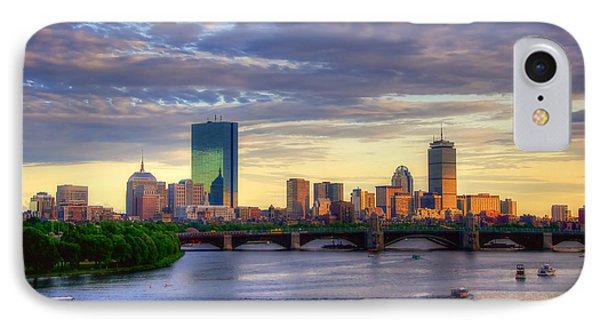 Boston Skyline Sunset Over Back Bay IPhone Case by Joann Vitali