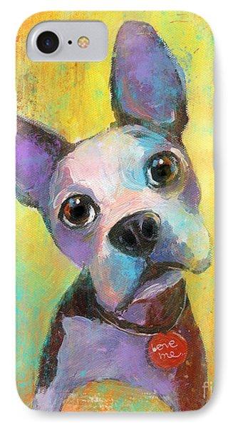 Boston Terrier Puppy Dog Painting Print Phone Case by Svetlana Novikova