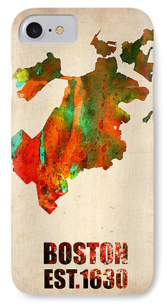 Boston Watercolor Map  Phone Case by Naxart Studio