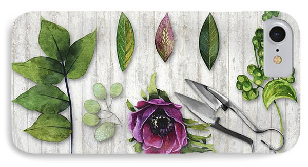 Botanica I Botanical Flower, Leaf And Berry Nature Study IPhone Case by Tina Lavoie