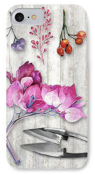 Botanica II Botanical Nature Study Flower, Leaf Seeds IPhone Case by Tina Lavoie