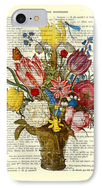 Bouquet Of Flowers On Dictionary Paper IPhone Case by Madame Memento