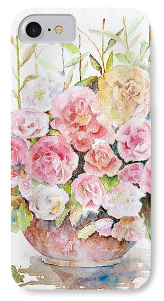 Bowl Full Of Roses Phone Case by Arline Wagner
