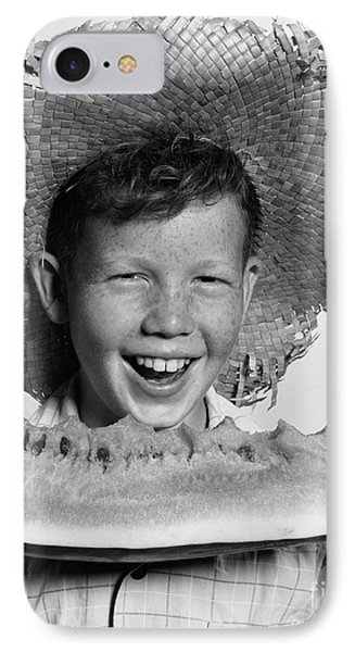 Boy Eating Watermelon, C.1940-50s IPhone 7 Case by H. Armstrong Roberts/ClassicStock