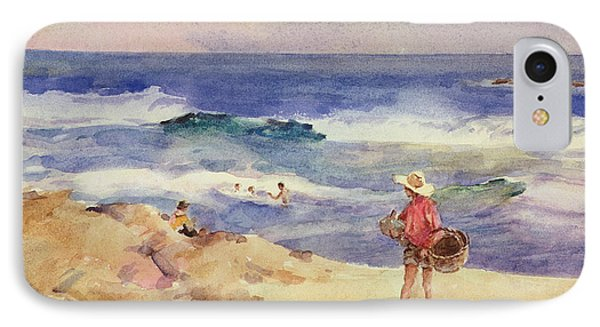 Boy On The Sand IPhone Case by Joaquin Sorolla
