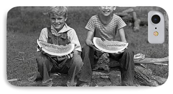 Boys Eating Watermelons, C.1940s IPhone 7 Case by H. Armstrong Roberts/ClassicStock