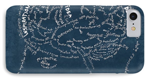 Brain Drawing On Chalkboard IPhone Case by Setsiri Silapasuwanchai