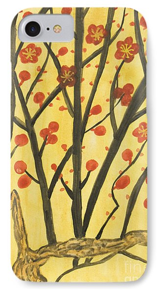 Branches With Red Flowers, Painting IPhone Case by Irina  Afonskaya
