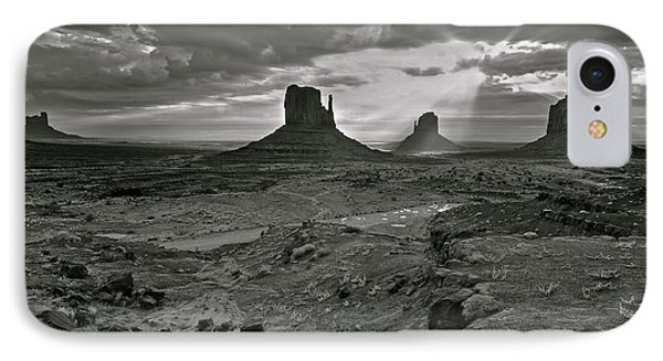 Breaking Light At Monument Valley - Black And White Phone Case by Brian Stamm