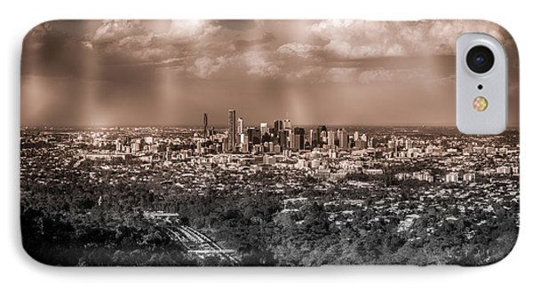 Brisbane Cityscape From Mount Cootha #4 IPhone Case by Stanislav Kaplunov
