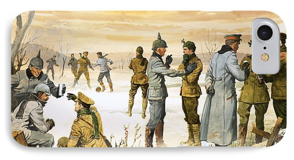 British And German Soldiers Hold A Christmas Truce During The Great War IPhone Case by Angus McBride