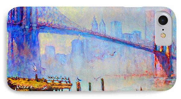 Brooklyn Bridge In A Foggy Morning IPhone 7 Case by Ylli Haruni