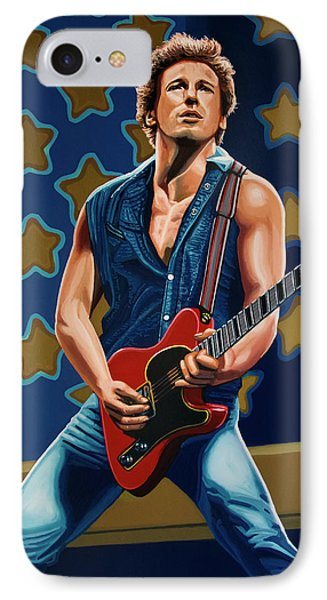 Bruce Springsteen The Boss Painting IPhone Case by Paul Meijering