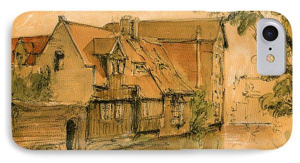 Bruges City Watercolor IPhone Case by Juan  Bosco