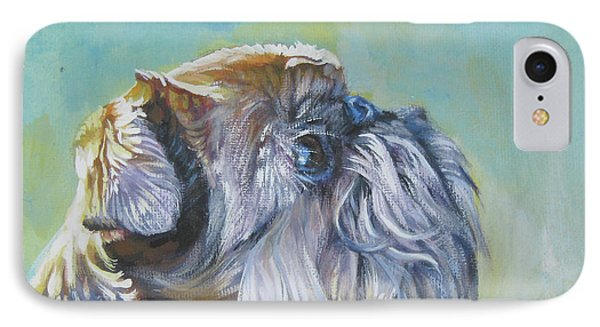 Brussels Griffon With Butterfly IPhone Case by Lee Ann Shepard