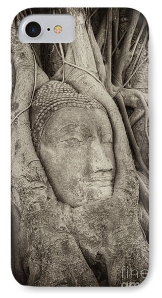 Buddha Head In Tree Phone Case by Fototrav Print